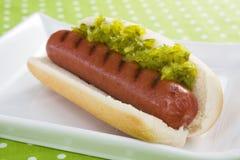 Hot dog e condimento Fotografia Stock