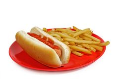 Hot-dog e fritadas Foto de Stock Royalty Free