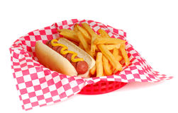 Hot dog e fritture Fotografie Stock