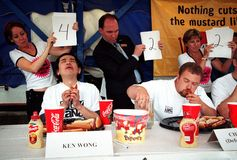 Hot Dog Eating Championship Royalty Free Stock Images