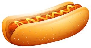 Hot-dog en petit pain avec de la moutarde sur le dessus Photographie stock