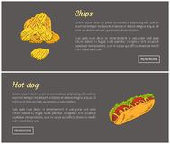 Hot-dog et Chips Fast Food Vector Illustration illustration libre de droits
