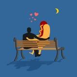 Hot-dog et homme regardant la lune Nuit de date Homme et prêt-à-manger s Photographie stock