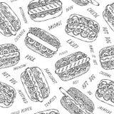 Hot-dog et inscription du modèle sans fin sans couture Beaucoup d'ingrédients Fond de menu de restaurant ou de café Collection d' image stock