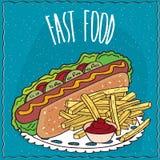 Hot-dog et pommes frites avec le ketchup illustration stock
