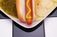 Hot-dog et puces Photographie stock