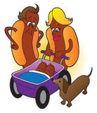 Hot Dog family. Family of hot dogs on outing with wiener dog and twin babies Stock Images