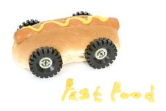 Hot Dog - Fast Food. Fast food - Hotdog with mustard - Fast food concept Stock Photography
