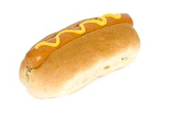 Hot Dog - Fast Food. Fast food - Hotdog with mustard Royalty Free Stock Images