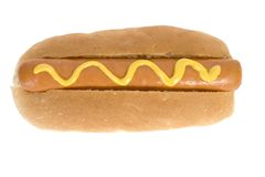 Hot Dog - Fast Food. Fast food - Hotdog with mustard Stock Photos