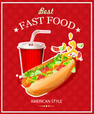 Hot Dog. Fast Food. Poster in vintage style. Vector illustration. Poster in vintage style. Food card stock illustration