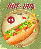 Hot Dog. Fast Food. Poster in vintage style. Vector illustration. Stock Image