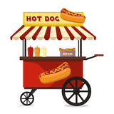 Hot dog fast food shop street cart city flat vector. Royalty Free Stock Images