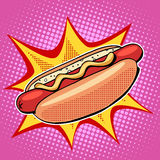 Hot dog fast food vector pop art style Stock Images
