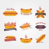 Hot dog flat design vintage label Stock Photos