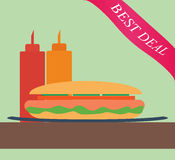 Hot Dog. In flat style Royalty Free Stock Photography
