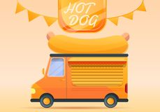 Hot dog food truck concept banner, cartoon style royalty free illustration