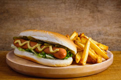 Hot dog and french fries stock images