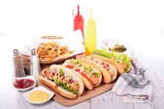 Hot dog with french fries Stock Image