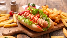 Hot dog and french fries Stock Photo