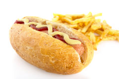 Hot dog with french fries isolated on white Stock Image