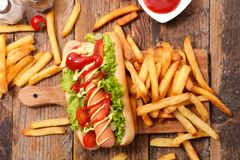 Hot dog and french fries Stock Image