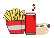 Food and drinks. Hot dog, French fries and a strongly carbonated drink royalty free illustration