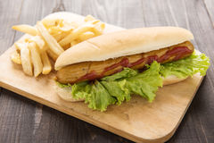 Hot dog with french fries on wooden background. Stock Images