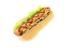 Hot dog with fried onions and ketchup Royalty Free Stock Image