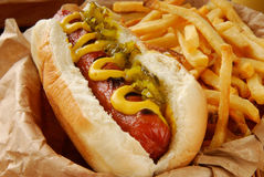 Hot dog and fries. Very closeup shot of a hot dog with mustard, relish and fries - shallow depth of field, focus on hot dog Royalty Free Stock Photo