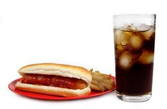 Hot-dog, fries and cola Stock Photo