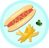 Hot Dog, Fries, and Olives Stock Images