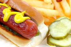 Hot Dog Fries Pickles Close View Stock Photos