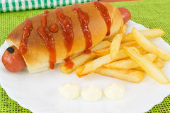Hot dog with fries and sauces Stock Photo