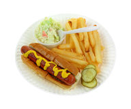 Hot Dog Fries Slaw Top View Stock Image