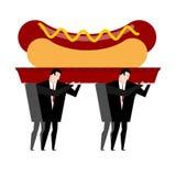 Hot dog funereo Gli alimenti a rapida preparazione sono bara dentro portata sepoltura di ciarpame illustrazione di stock