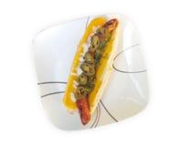 Hot dog gastronomico arrostito Fotografie Stock