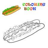 Hot Dog. Goloring book, Vector illustration Royalty Free Stock Photography