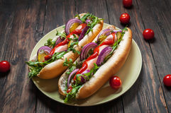 Hot dog. Grilled hot dogs with ketchup on a wooden table. Sandwich royalty free stock images