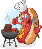 Hot Dog Grilling. A hot dog chef character over the barbecue, grilling burgers Royalty Free Stock Photo