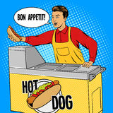Hot dog guy pop art cartoon style vector Royalty Free Stock Image
