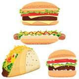 Hot Dog, Hamburgers and Tacos Royalty Free Stock Images