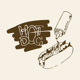 Hot Dog Hand Drawn Illustration. Fast food design element, sketch of hotdog with sauce or mayonnaise and stylized hand written label of Hot Dog. Can be used Stock Image