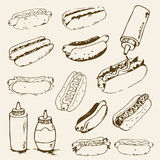 Hot Dog Hand Drawn Set. Of illustrations. Fast food design elements, sketches of hotdogs with sauce, mayonnaise and vegetables. Monochrome EPS8 vector graphics Stock Image
