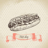 Hot dog. Hand drawn vintage illustration Stock Photo