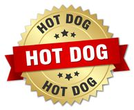 Hot dog. Gold badge with red ribbon royalty free illustration