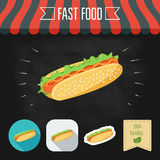 Hot Dog icon on a chalkboard. Set of icons and eco label. Flat design. Vector Stock Photos