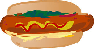 Hot dog illustration Stock Images