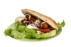 Hot dog isolated. With clipping path Stock Photography