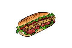 Hot dog isolato su fondo bianco Fotografia Stock Libera da Diritti